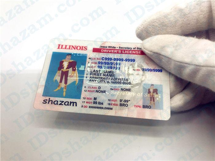 Premium Scannable Illinois State Fake ID Card Handheld Display