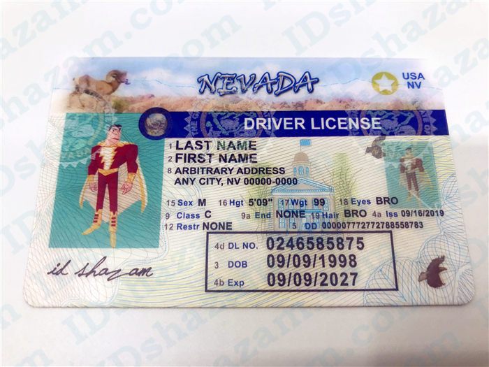 Premium Scannable Nevada State Fake ID Card Positive Display