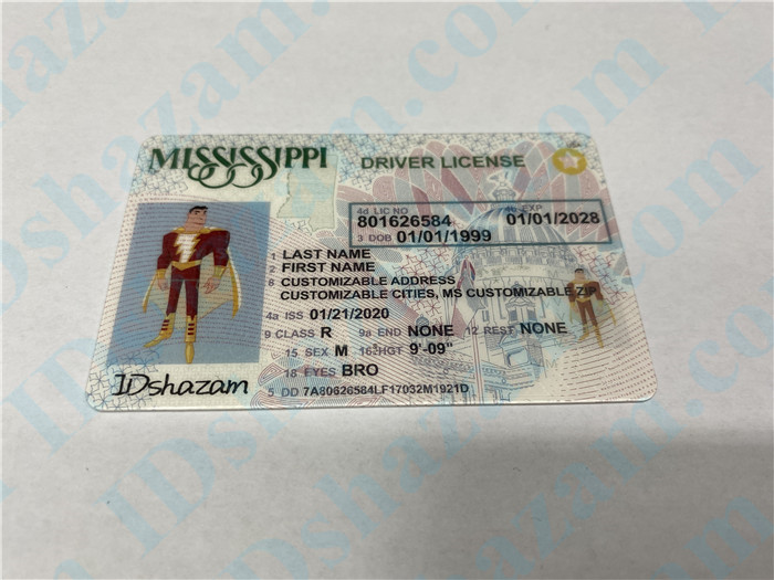 Premium Scannable Mississippi State Fake ID Card Positive Display