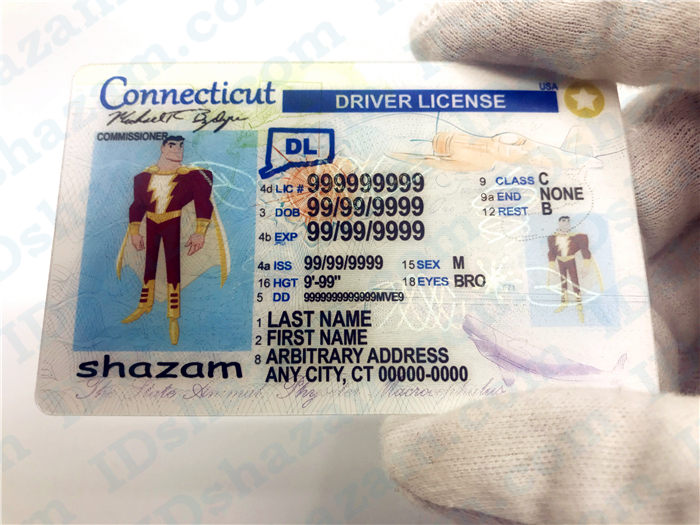 Premium Scannable Connecticut State Fake ID Card Handheld Display