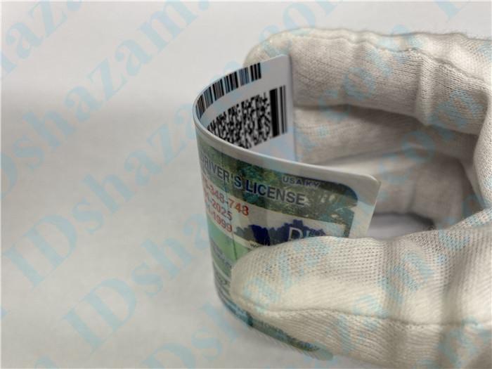 Premium Scannable Kentucky State Fake ID Card Bending Display