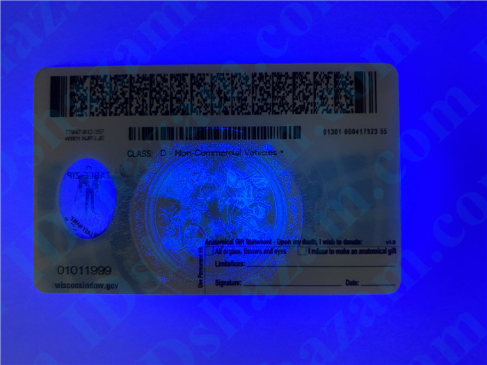 Premium Scannable Wisconsin State Fake ID Card UV Anti-Counterfeiting Layer 2