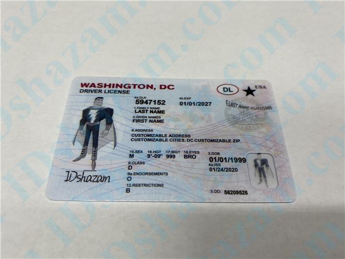 Premium Scannable Washington DC State Fake ID Card Positive Display