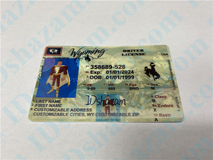 Premium Scannable Wyoming State Fake ID Card Positive Display