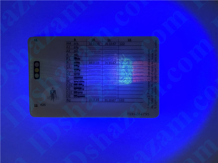 Premium Scannable United Kingdom Fake ID Card UV Anti-Counterfeiting Layer 2