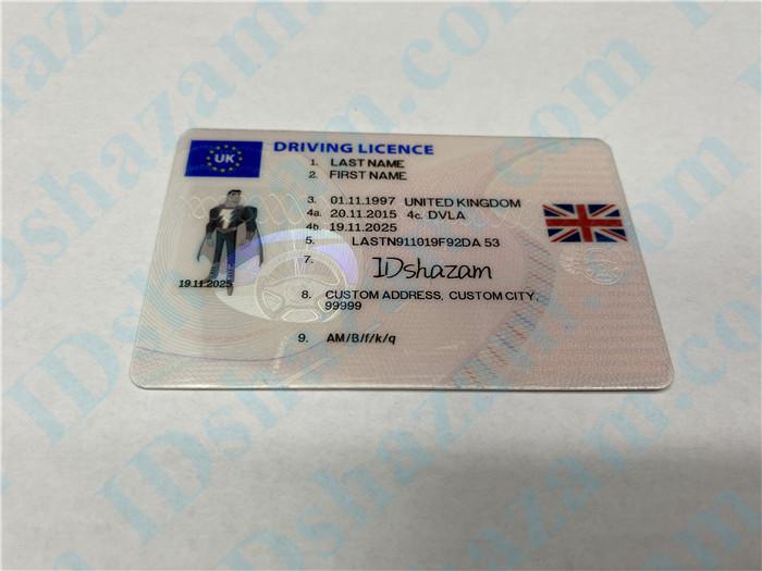 Premium Scannable United Kingdom Fake ID Card Positive Display