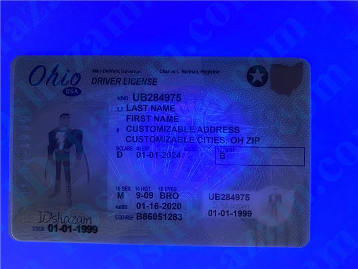 Premium Scannable Ohio State Fake ID Card UV Anti-Counterfeiting Layer