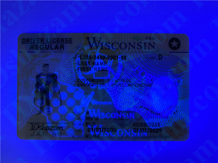 Premium Scannable Wisconsin State Fake ID Card UV Anti-Counterfeiting Layer