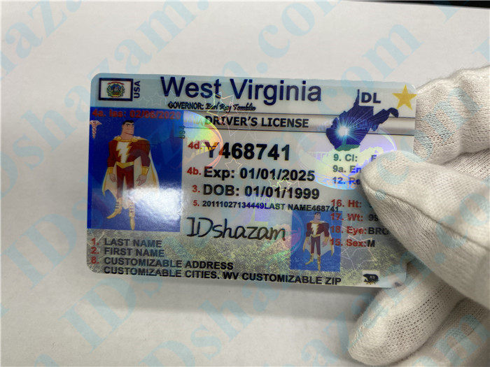 Premium Scannable West Virginia State Fake ID Card Hologram Display