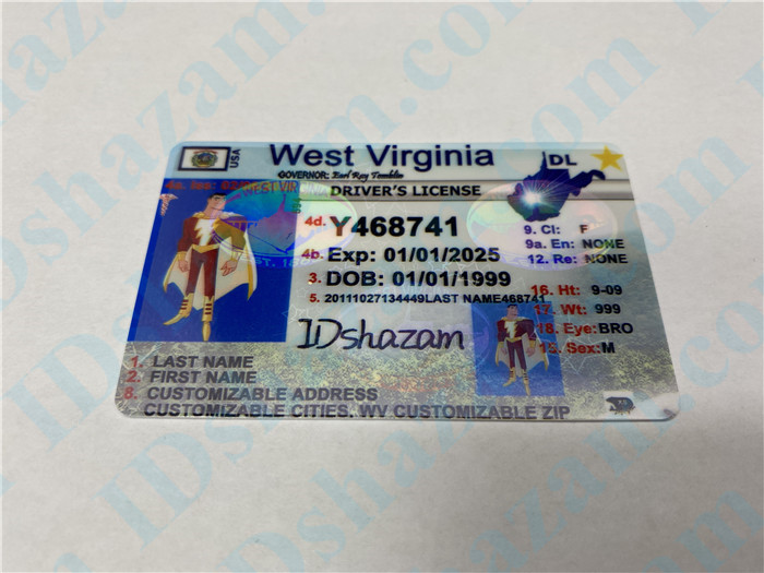 Premium Scannable West Virginia State Fake ID Card Positive Display