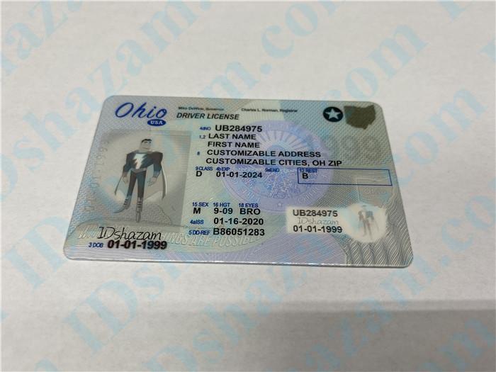 Premium Scannable Ohio State Fake ID Card Positive Display