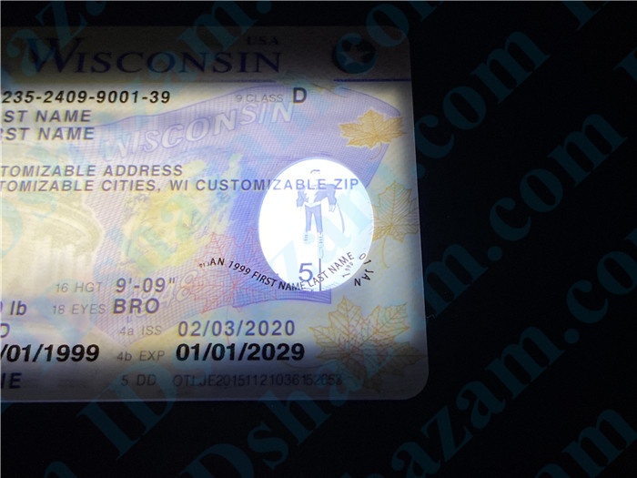 Premium Scannable Wisconsin State Fake ID Card Small Transparent Window