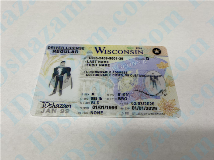 Premium Scannable Wisconsin State Fake ID Card Positive Display