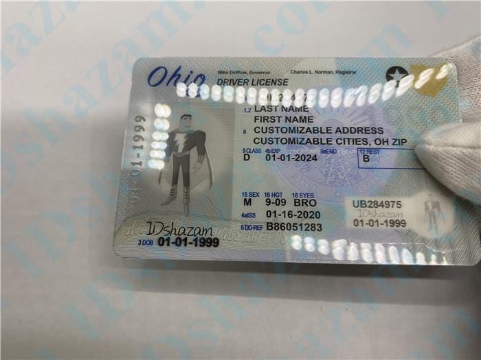 Premium Scannable Ohio State Fake ID Card Hologram Display