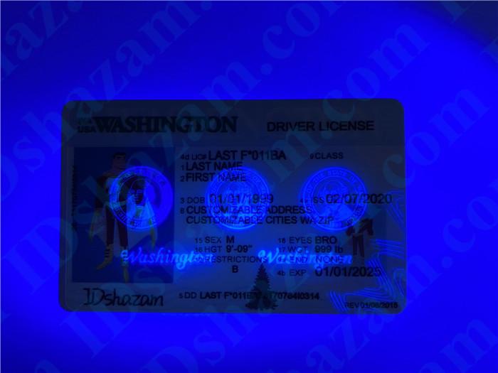 Premium Scannable Washington State Fake ID Card UV Anti-Counterfeiting Layer 2