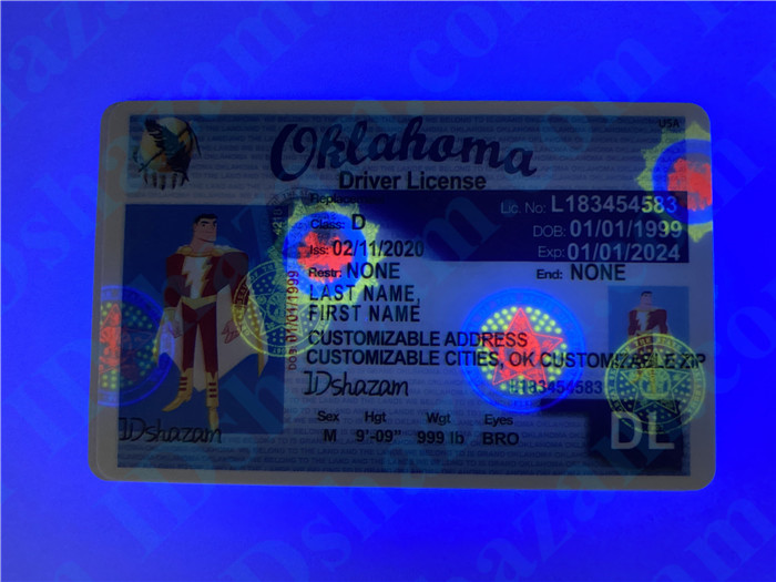 Premium Scannable Oklahoma State Fake ID Card UV Anti-Counterfeiting Layer