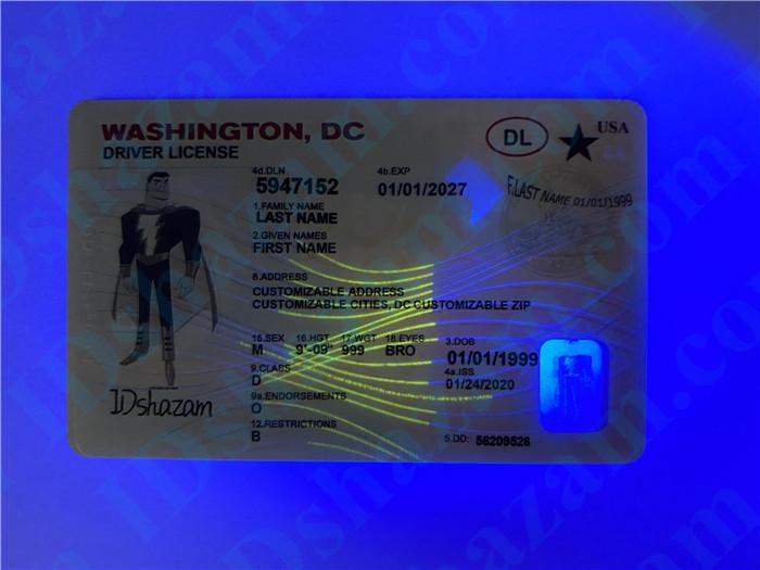 Premium Scannable Washington DC State Fake ID Card UV Anti-Counterfeiting Layer