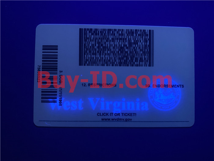 Premium Scannable West Virginia State Fake ID Card UV Anti-Counterfeiting Layer