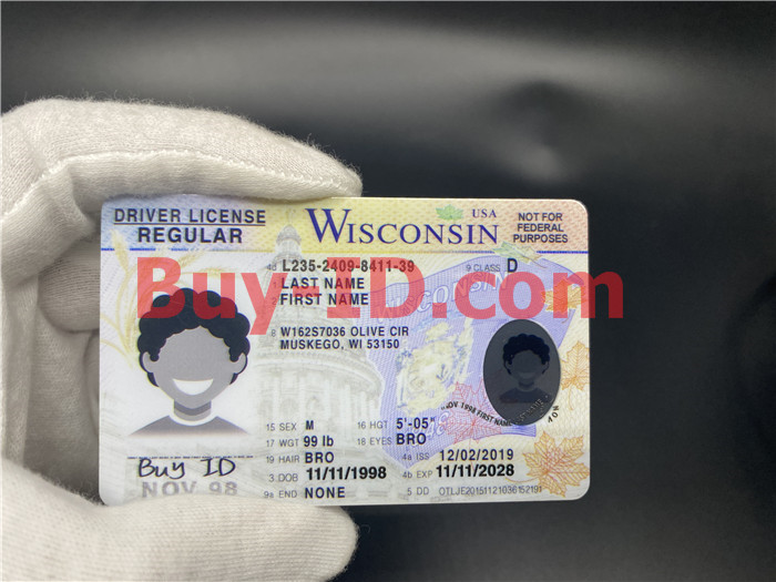 Premium Scannable Wisconsin State Fake ID Card Hologram Display