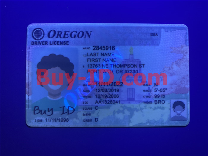 Premium Scannable Oregon State Fake ID Card UV Anti-Counterfeiting Layer