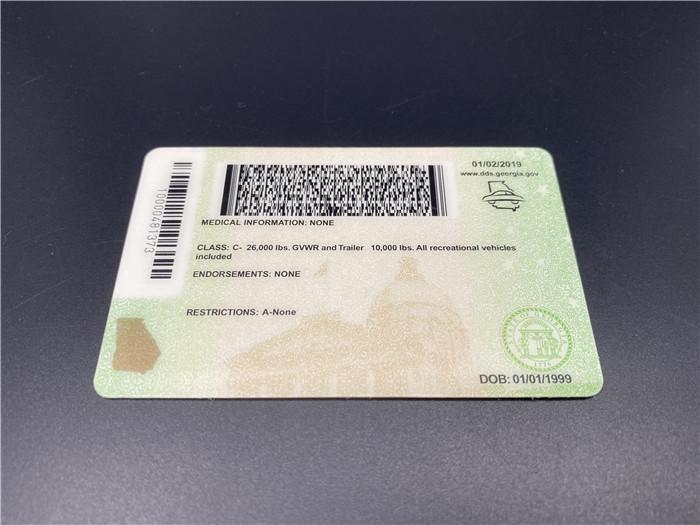 Premium Scannable New Georgia State Fake ID Card Back Display