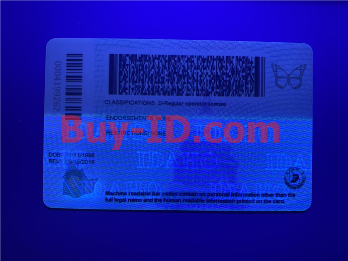 Premium Scannable Idaho State Fake ID Card UV Anti-Counterfeiting Layer 2