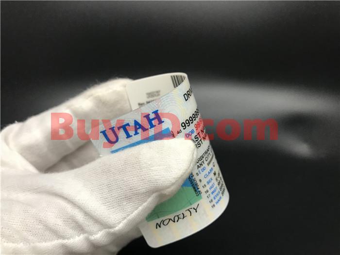 Premium Scannable Utah State Fake ID Card Bending Display