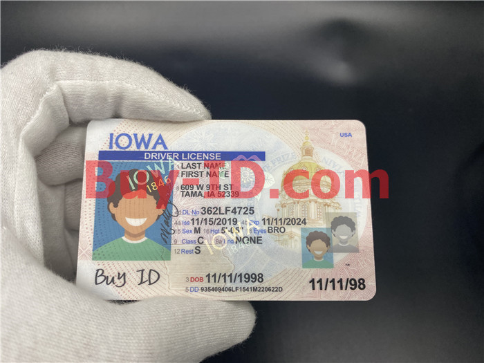 Premium Scannable Iowa State Fake ID Card Hologram Display