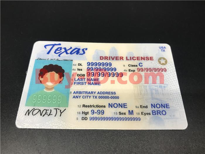 Premium Scannable Texas State Fake ID Card Positive Display
