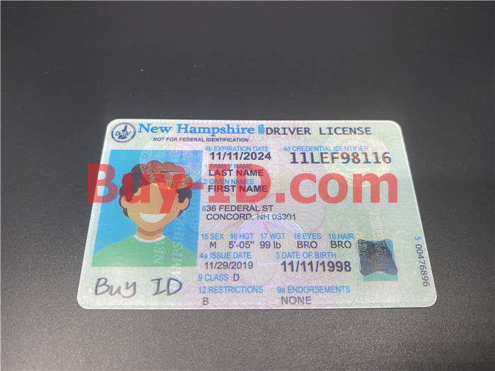 Premium Scannable New Hampshire State Fake ID Card Positive Display