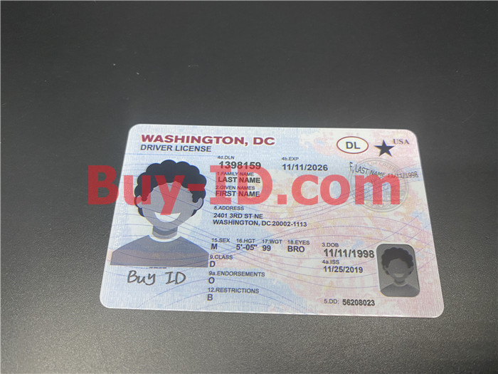 Premium Scannable Washington DC State Fake ID Card Positive Display