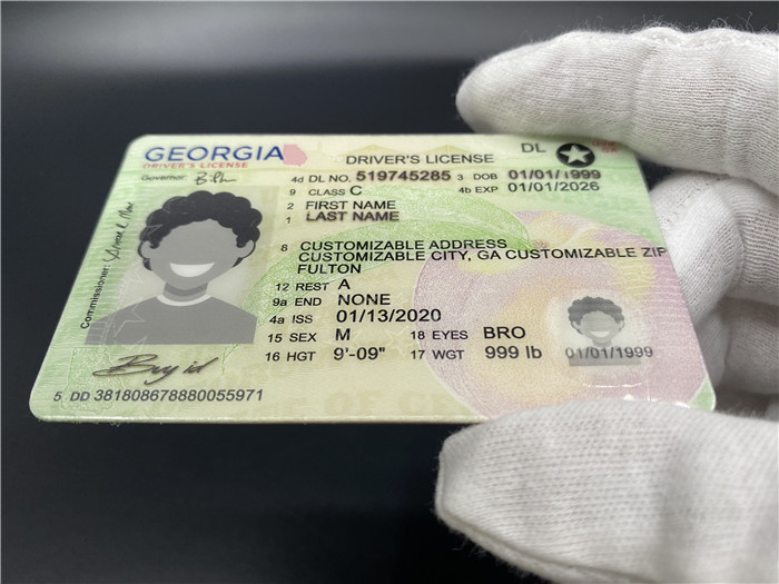 Premium Scannable New Georgia State Fake ID Card Surface Engraving