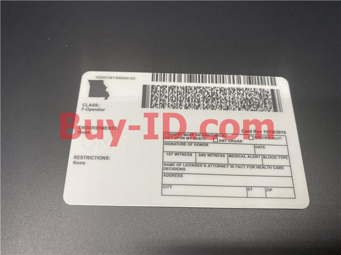Premium Scannable Missouri State Fake ID Card Back Display