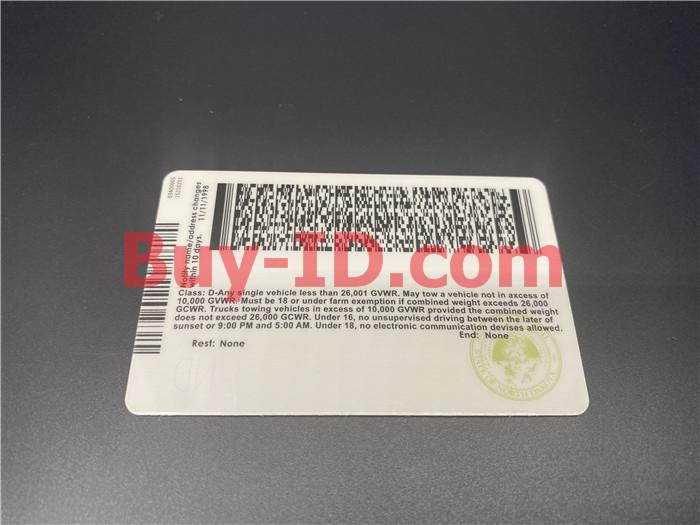 Premium Scannable North Dakota State Fake ID Card Back Display