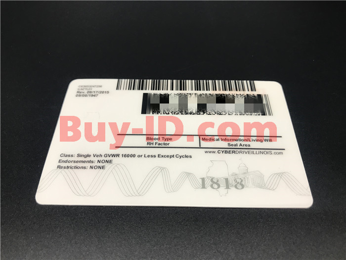 Premium Scannable New Illinois State Fake ID Card Back Display
