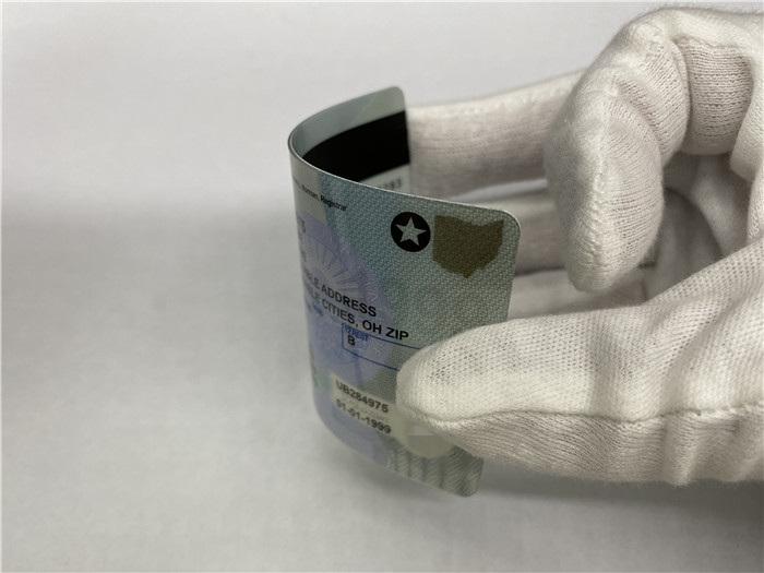 Premium Scannable Ohio State Fake ID Card Bending Display