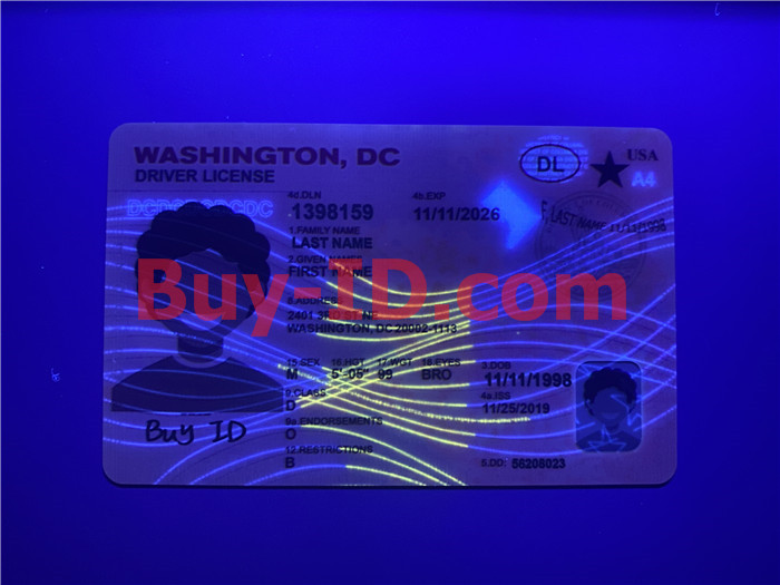 Premium Scannable Washington DC State Fake ID Card UV Anti-Counterfeiting Layer