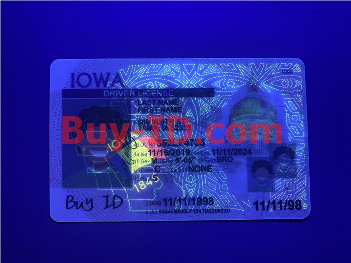 Premium Scannable Iowa State Fake ID Card UV Anti-Counterfeiting Layer