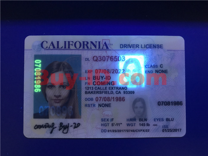 Premium Scannable Old California State Fake ID Card UV Anti-Counterfeiting Layer
