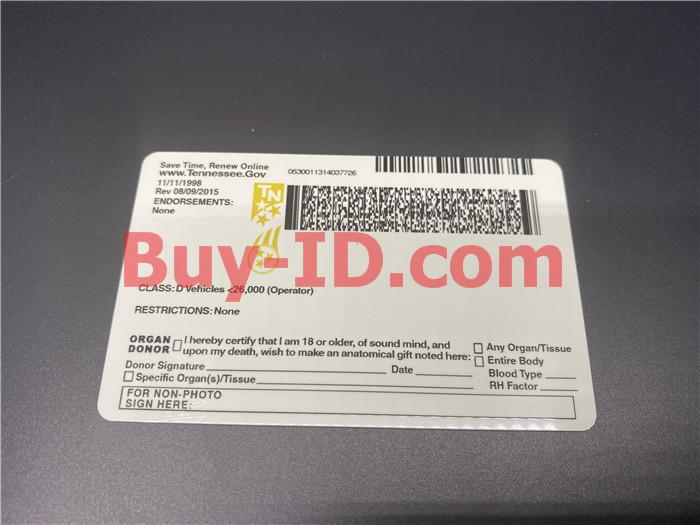 Premium Scannable Tennessee State Fake ID Card Back Display