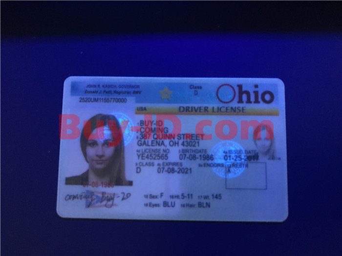 Premium Scannable Old Ohio State Fake ID Card UV Anti-Counterfeiting Layer