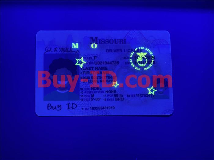 Premium Scannable Missouri State Fake ID Card UV Anti-Counterfeiting Layer