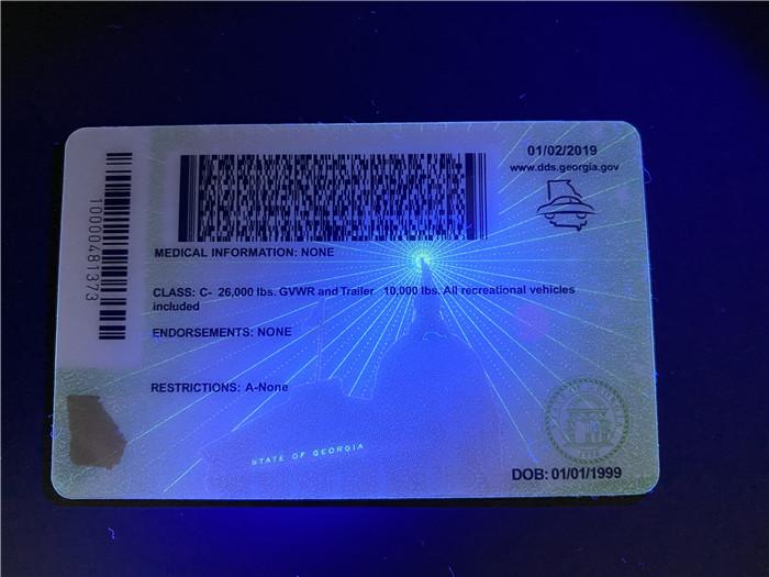 Premium Scannable New Georgia State Fake ID Card UV Anti-Counterfeiting Layer 2