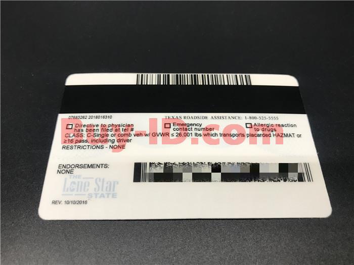 Premium Scannable Texas State Fake ID Card Back Display