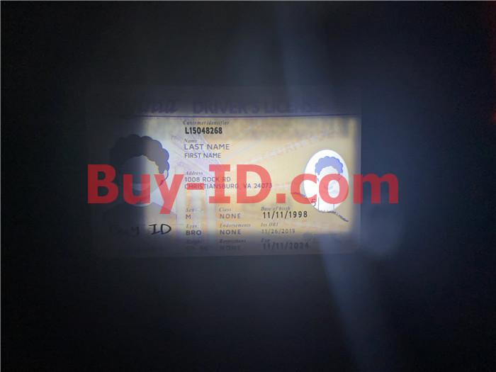 Premium Scannable Virginia State Fake ID Card Small Transparent Window