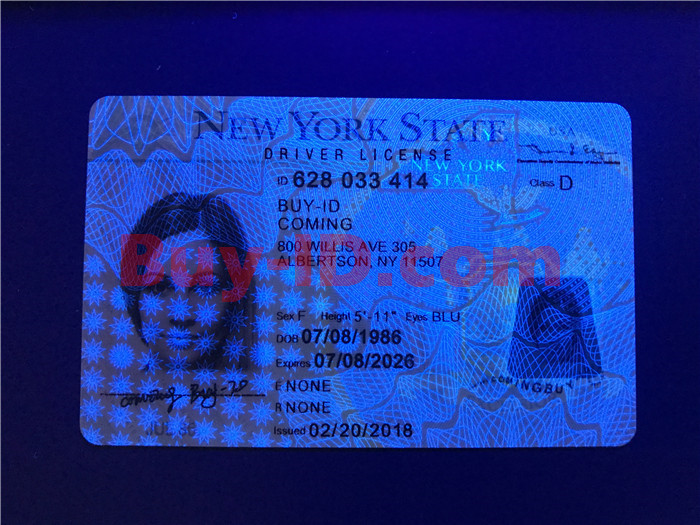 Premium Scannable New York State Fake ID Card UV Anti-Counterfeiting Layer