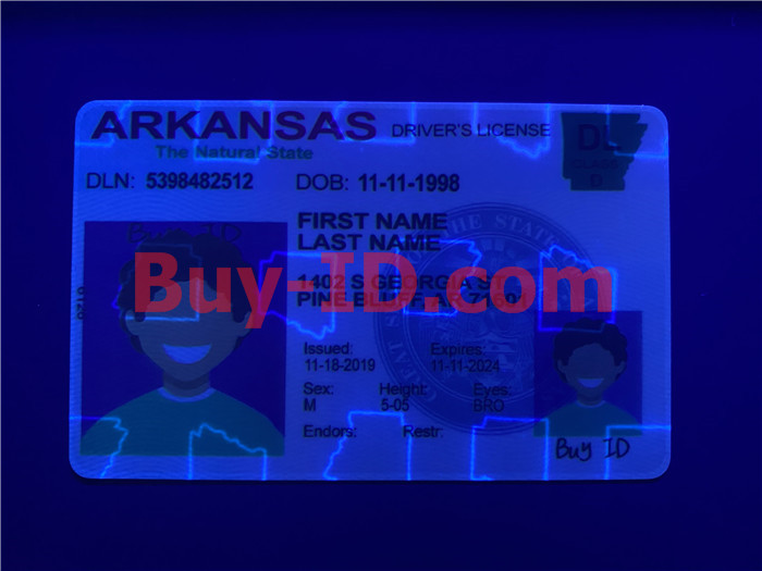 Premium Scannable Arkansas State Fake ID Card UV Anti-Counterfeiting Layer