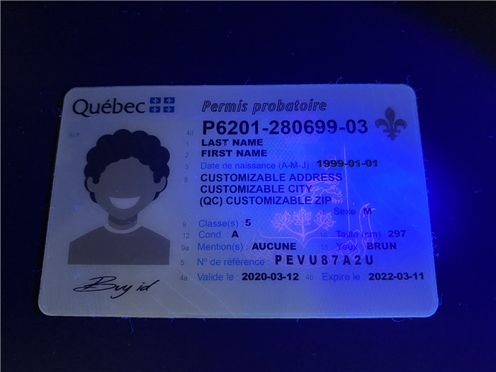 Premium Scannable Canada Quebec Fake ID Card UV Anti-Counterfeiting Layer