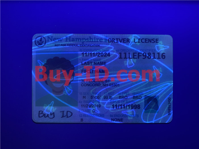 Premium Scannable New Hampshire State Fake ID Card UV Anti-Counterfeiting Layer
