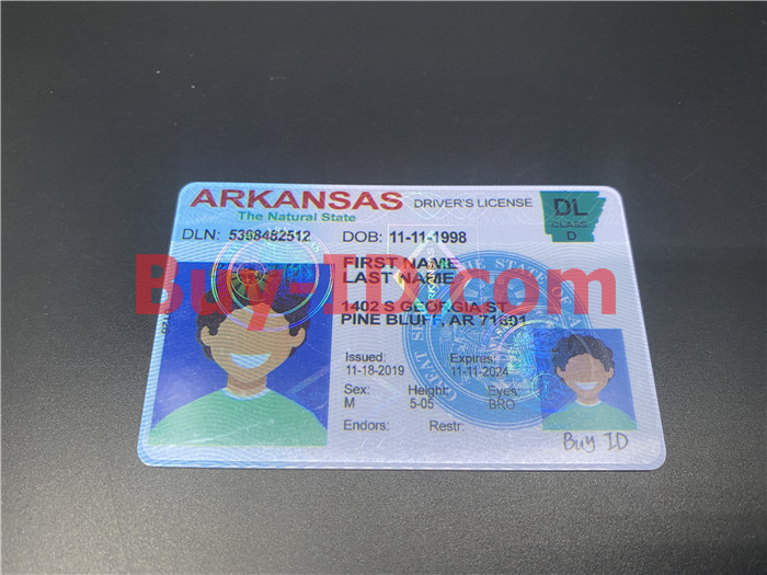 Premium Scannable Arkansas State Fake ID Card Positive Display